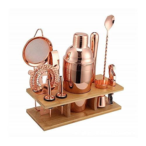CXJC Juego de coctelera de acero inoxidable chapado en oro rosa, juego de 11 piezas, juego de herramientas de barra de vino, kit de barmender con soporte de exhibición para bar en el hogar (550 ml)