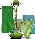 Rouleau Jade certifié pour les outils visage et Gua Sha Soins de la peau par Matykos - Certifié Vert Xiuyan Pierres - Anti vieillissement des produits de massage pour Drainage lymphatique et Wrinkles