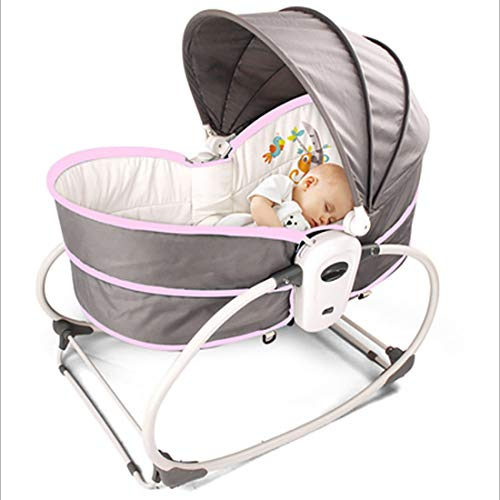 LYN Baby Cribs, Vibrating Rocking Chairs, Multifunctional Soothing Chairs, Children's Recliners,Pink