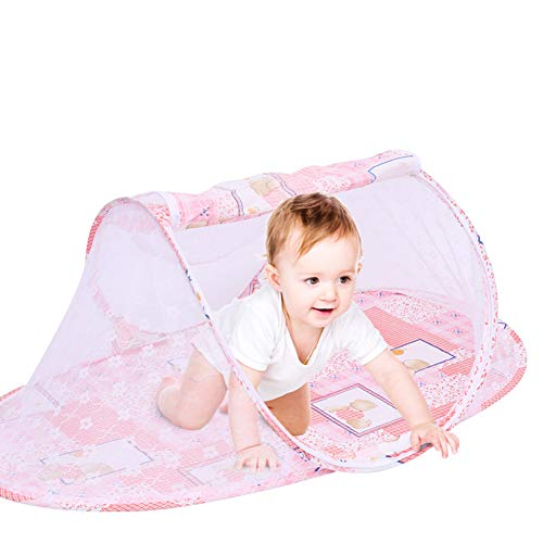 Camper Auto Pop Up Baby Tent, Portable Toddler Travel Tent Bed with Mosquito Net UV Protection Sun Folding Crib Sun Shelter for Infant Indoor Outdoor Beach