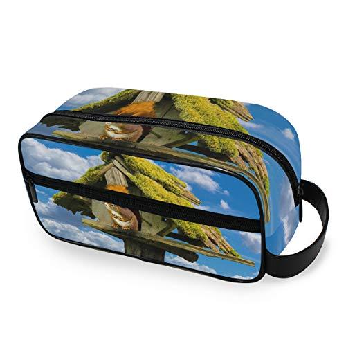 Nature Sky Kulturtasche mit Tiermotiv und Eichhörnchen, für Reisen, Kosmetiktasche, tragbar, Make-up-Tasche