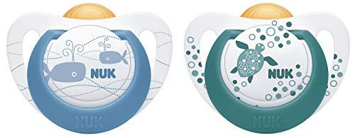 NUK Genius Color Latex-fopspeen voor grenen geschikt, 6-18 maanden, 2 stuks 6-18 maanden Blauww (nieuw)
