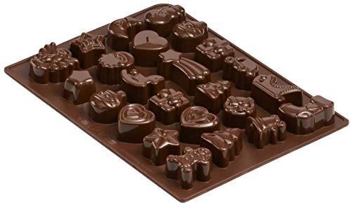 Dr. Oetker Silikon-Schokoladenform, Form für 24 Köstlichkeiten, hochwertige Silikonbackform für Schokolade, Gebäck oder Eis (Farbe: braun), Menge: 1 Stück