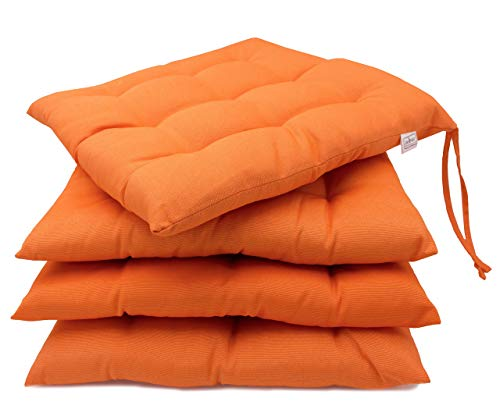 ZOLLNER 4er Set Stuhlkissen mit Bänder, 40x40 cm, orange (weitere verfügbar)