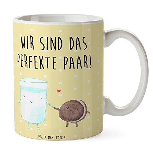 Mr. & Mrs. Panda Tee, Kaffeetasse, Tasse Milch & Keks mit Spruch - Farbe Gelb Pastell