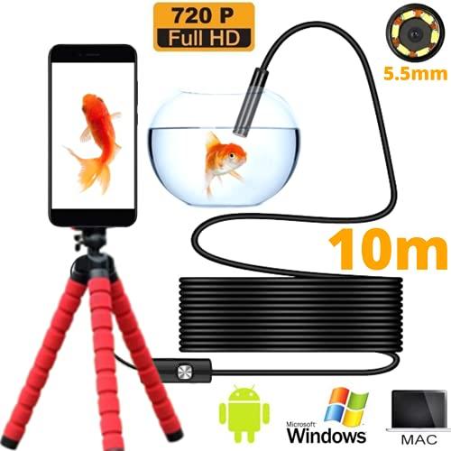 Endoskopische Kamera 10m halbsteifes wasserdichtes Kabel 3in1 USB/Micro USB/Type-C Kompatibel auf PC/Mac/Tablet/Android. Nicht kompatibel mit Iphone und Ipad. Smartphone-Halterung + Handbuch Englisch