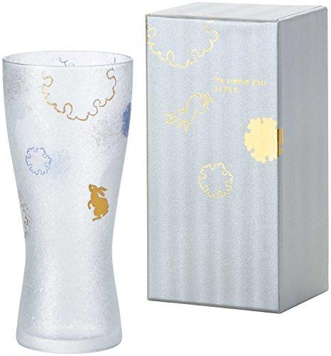アデリア ビールグラス ゴールド 310ml プレミアムニッポンテイスト雪兎 ビアグラス(泡づくり機能付) ギフト箱入 日本製 6688