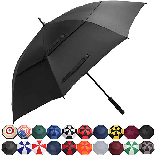 BAGAIL Golf Umbrella 68/62/58 Inch Large Oversize Double Canopy Vented Automatic Open Stick Umbrellas for Men and Women(Black,68 inch)