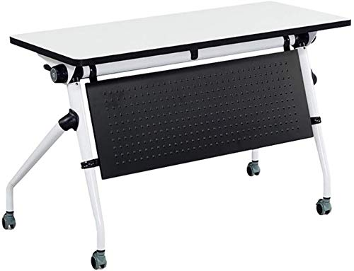 Multifunctionele Folding Training Table Folding Splicing Conferentie tafel en stoel Combinatie Simple Folding Lijst van de conferentie met wielen leilims (Color : White)