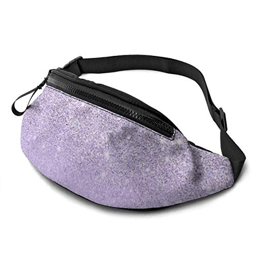 Corner Time Small Artificial Flowers Unisex Casual Waist Bag Stylish Purple Lavender Glitter Ombre Color Block Fanny Pack Money Bum Bag with Adjustable Belt for Running Sports Climbing Travel