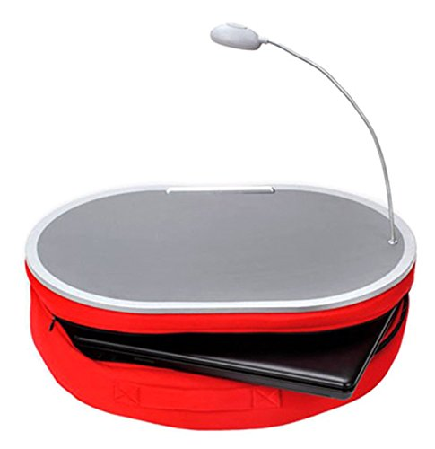 """Deluxe Comfort Portable Lap Desk With LED Lamp, 18"""" x 15"""" - Handy Zippered Storage - Laptop Lapdesk, Red"""