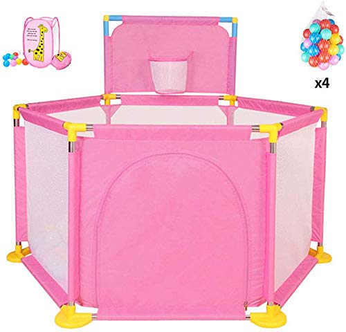 Baby Play Yard Large Baby Playpen, Portable Safety Kids Playard for Infants with Mini Basketball Hoop and Ball,Storage Basket,Door Safety Gate Compact Best Fence for Indoor Outdoor