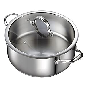 Made with 18/10 stainless steel with an aluminum disc layered in the bottom Aluminum disc bottom provides even heat distribution and prevents hot spots Tempered glass lid with steam hole vent makes viewing food easy Riveted handles offer durability; ...