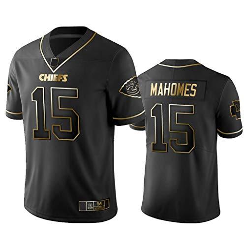 15# Patrick Mahomes Rugby-Trikot Kansas City Chiefs T-Shirts, Wettkampftraining Outdoor-Uniform Unisex Kurzarm Gute Match-Black Gold Edition-XL
