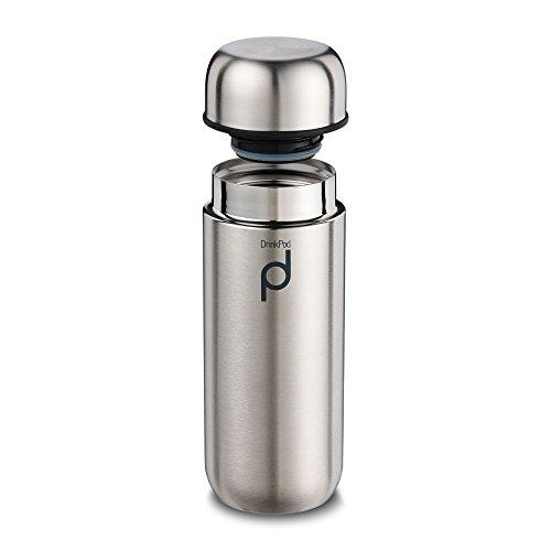 Pioneer DrinkPod Isolierflasche aus Edelstahl 0,2 L Doppelwandig Thermo-Lebensmittelbehälter 6 Stunden Heiß 24 Stunden Kühl Auslaufsicher BPA-Frei - Gebürsteter Stahl