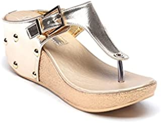 Bruno Manetti Women Faux Leather Golden Wedges