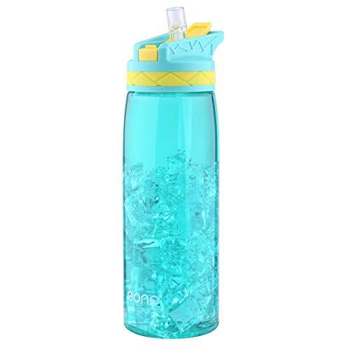 Eono by Amazon - Tritan Botella Agua con Pajita Deportes Bebidas Botellas Sin BPA No Tóxico Sin Olor con para Niños y Adultos 750ml