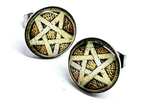 Eclectic Shop Uk Pentáculo Pentagrama Tierra Tuerca Pendientes Pagano Wiccan Bruja Estrella Gótico EMO Regalo