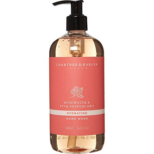 Crabtree & Evelyn Rosewater & Pink Peppercorn Hydrating Hand Wash, 16.9 Fl Oz