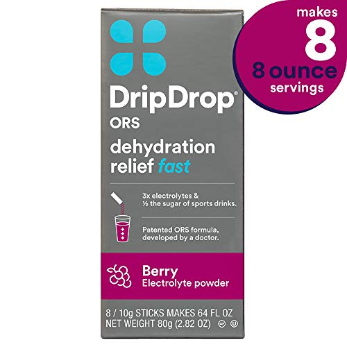 DripDrop ORS Dehydration Relief Fast Electrolyte Powder Sticks, Berry Flavor, Makes (8) 8oz Servings