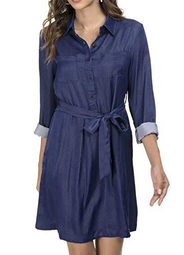 Luna et Margarita Vestito da Cintura in Raso di Jeans Blu da Donna con Tasca 48