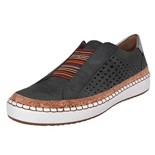 VECDY Damen Sommer Sandalen Einfarbige Atmungsaktive Turnschuhe Kostenlose Krawatte Wanderschuhe Schuhe 35-43 (Schwarz, 40)