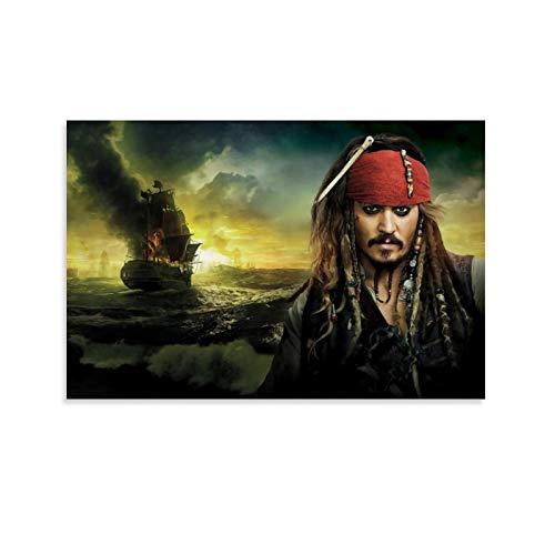 SSKJTC Pinturas sobre lienzo de las películas de los piratas del Caribe Jack Sparrow Johnny Depp y barco ardiente, impresiones sobre lienzo para decoración del hogar 20 x 30 cm