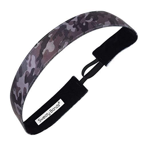 Sweaty Bands Womens Girls Headband - Non-Slip Velvet-Lined Workout Hairband - Booty Camp Camo Black Gray 1-Inch