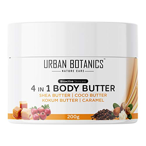 UrbanBotanics® 4 in1 Body Butter For Dry Skin / Normal Skin with Shea Butter, Coco Butter, Kokum Butter & Caramel - Body Cream For Women & Men, Cold Cream, 200g