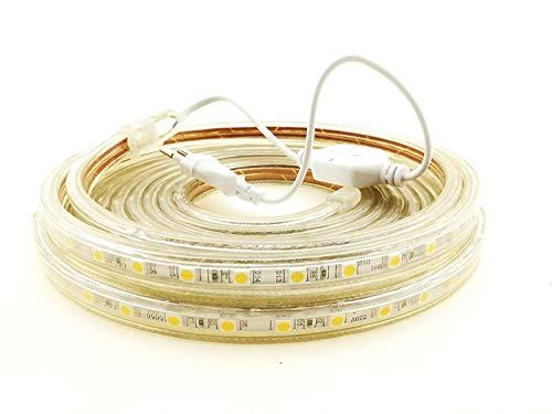 Strisce LED SMD5050 60 LED/M 220v (3M Calda) 3000k Luce decorativa IP65 Impermeabile Con Spina ONSSI LED