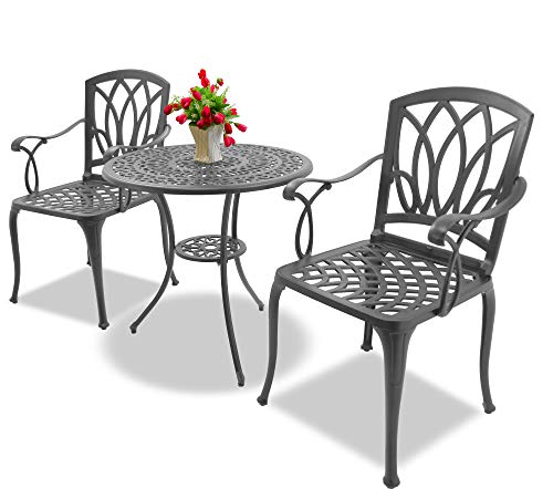 Homeology POSITANO Garden & Patio Table & 2 Large Chairs with Armrests Cast Aluminium Bistro Set - Graphite