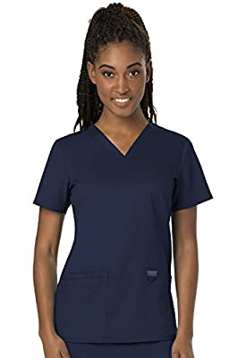 CHEROKEE Women's V-Neck Top, Navy, X-Large