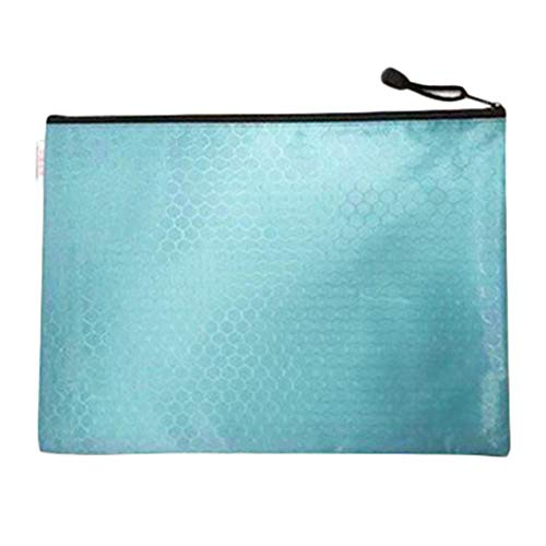 DaoDai Briefcase Conference Travel Zipper Waterproof Insert File Bag 12 Layer Oxford Cloth Organ Bag IPad Handbag Storage for Holiday and Office (Light Blue)