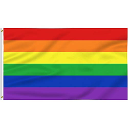 FLAGBURG Rainbow Flag 3x5 FT, LGBT Flags - Durable Polyester Gay Pride Lesbian Flag Banner, Vivid Color, Double Stitched and Fade Resistant with Canvas Header & Brass Grommets for Outdoor Parade