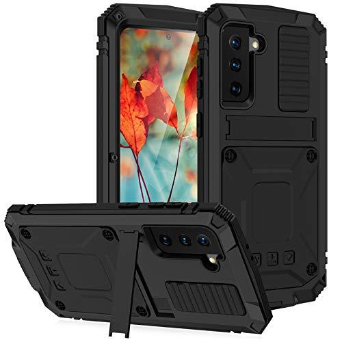 qichenlu [Estándar militar antigolpes negro protección completa para S21 Plus, con protector de pantalla, soporte de metal híbrido, carcasa impermeable de silicona para Samsung Galaxy S21 Plus