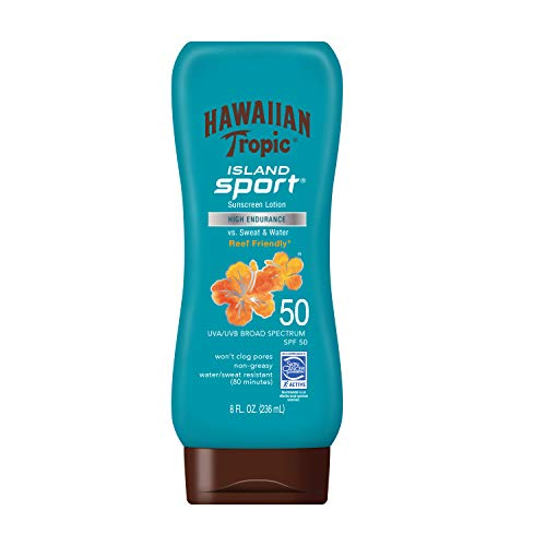 Hawaiian Tropic Island Sport Sunscreen Lotion Ultra Light High Performance Protection SPF 50 8 Ounces
