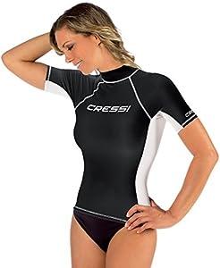 Cressi Rash Guard Camiseta con Filtro de Protección UV UPF 50+, Mujer, Negro, M