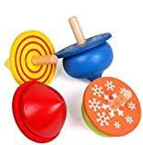 dancepandas Peonza Trompo de Madera,Peonza peonzas trompos Madera Mini Colorido de Artesanales Juguetes de Fiesta Infantil(8 Piezas)
