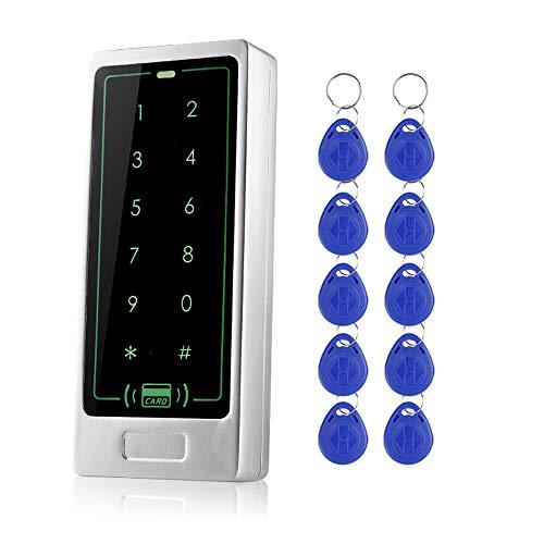 uoweky Toque Control de Acceso de Metal Teclado Lector de Tarjetas RFID Cerradura de la Puerta Sistema de Control de Acceso Modelo de Plata + 10 Botones (C10+Llavero)