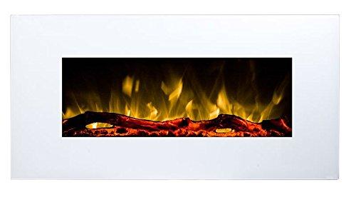 GLOW FIRE Neptun Elektrokamin mit Heizung, Wandkamin mit LED | Künstliches Feuer mit zuschaltbarem Heizlüfter: 750/1500 W | Fernbedienung, 84 cm, Weiß, Holzdekaration