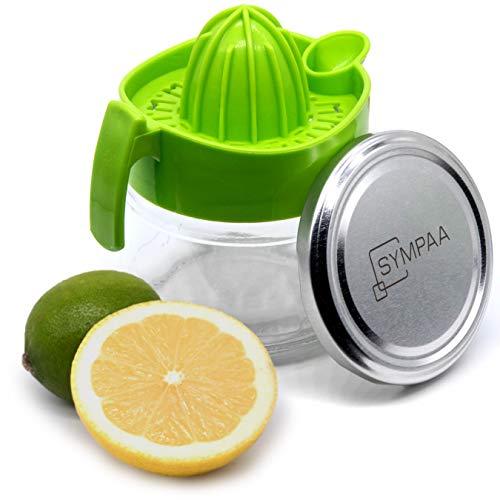 SYMPAA® Zitronenpresse Original Zitruspresse Glasbehälter und Schraubverschluss zur nachhaltigen Aufbewahrung | Saftpresse Handpresse Limettenpresse