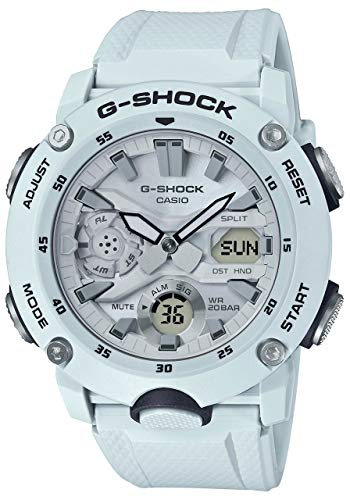 Casio GA2000S-7A Men's Carbon Core Guard Analog Digital Alarm Chronograph White G Shock Watch