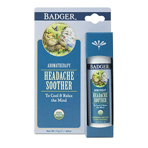 Badger - Headache Soother, Aromatherapy Balm Stick, Certified Organic, Headache Relief Aromatherapy Oil, Peppermint Eucalyptus & Lavender Essential Oils, Stress Relief, 0.6 oz