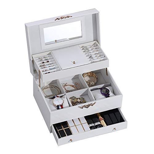 qddan Caja de joyería Organizador de Joyas con cajones de joyería con Estuche portátil de Espejo, para Anillos, Pulseras, Pendientes, Collares Regalo Regalo (Color : Blanco)