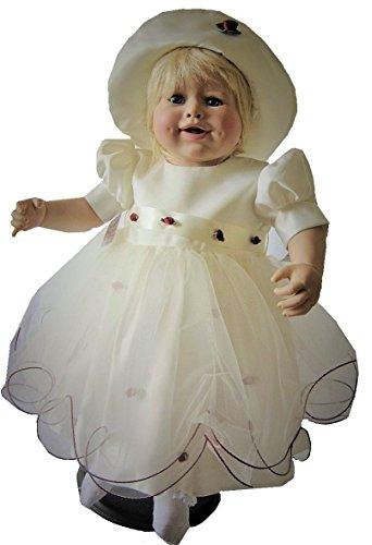Danwit Baby Kleid Taufkleid Festkleid Blumenmädchenkleid Hochzeit Sommerkleid Mädchenkleid in Creme 80 86