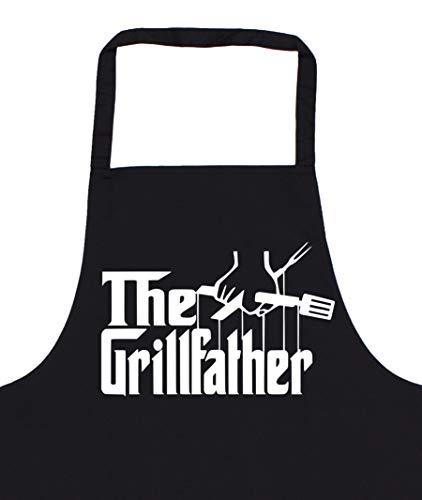Grillschürze für Männer   The Grillfather   Grill-Schürze mit Spruch lustig BBQ Grillen schwarz Uni