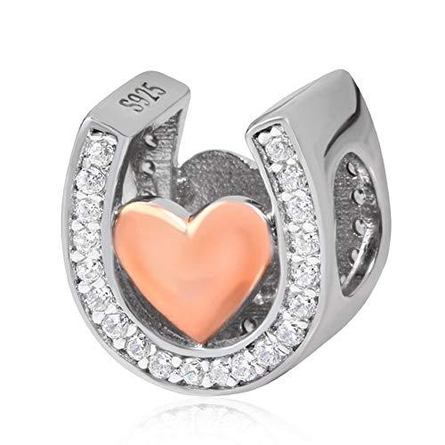 Ciondolo a forma di ferro di cavallo, charm portafortuna in amore, in argento Sterling 925, colore oro rosa, per braccialetti Pandora B