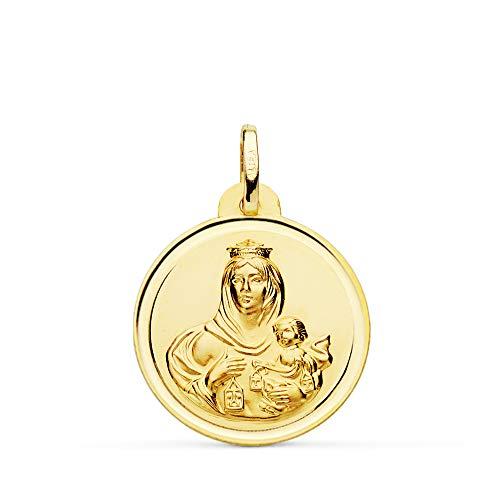 Medalla Escapulario V. Carmen y C. Jesús Oro 18 Kilates Bisel 22mm