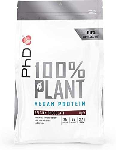 PhD Nutrition 100% Plant, Vegan approved protein powder, Belgian Chocolate,...