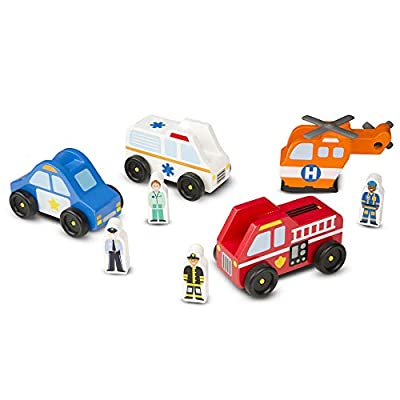 Melissa & Doug Emergency Vehicle Wooden Play Set With 4 Vehicles, 4 Play Figures by Melissa and Doug